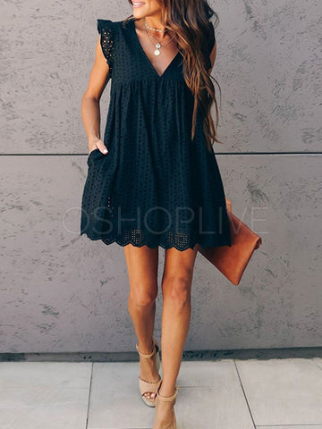 2 Colors Solid Mini Dress