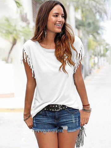Short-sleeved Round Neck Tassels Cotton T-Shirt 8 Colors