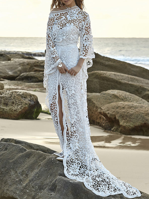 K'Mich Weddings - wedding planning - wedding dresses - two piece lace flared sleeves evening dress