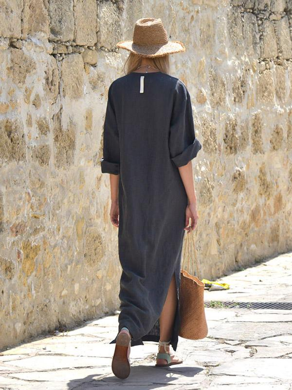 Simple Loose V-neck Split-side Maxi Dress