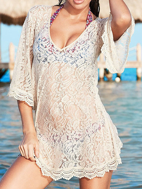 Beach Vacation Lace Hollow 3/4 Sleeve V Neck Mask Cover-ups
