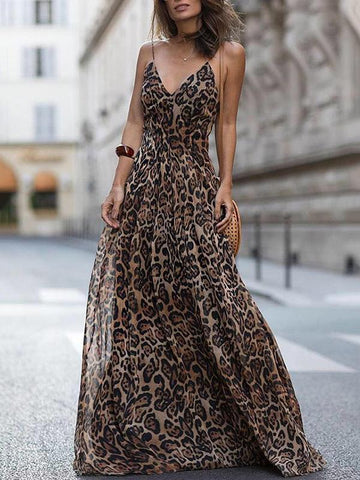 Fashion Deep V-neck Backless Leopard Print Maxi Dress