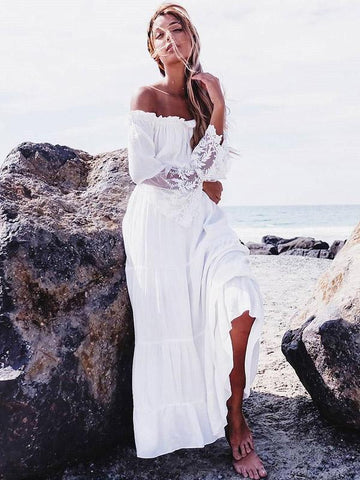 Sexy Lace Split-joint Off-the-shoulder Flared Sleeves Maxi Dress