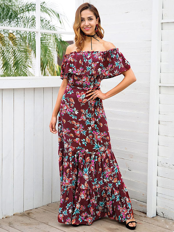 Bohemia Floral Off-the-shoulder Falbala Maxi Dress