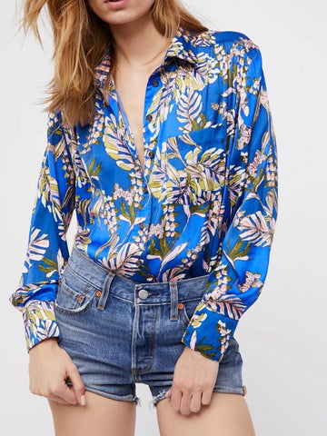 Fashion Floral-Print Long Sleeve Laple Neck Blouse Shirts Tops