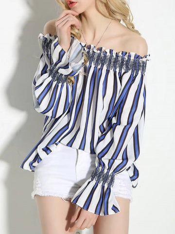 Pretty Fashion Stripe  Off Shoulder Long Sleeve Blouse Shirt Tops
