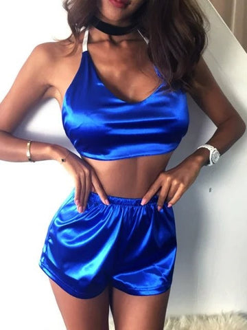 Pretty Sexy Solid Color  Two Pieces Halter Shirt and Shorts Suits