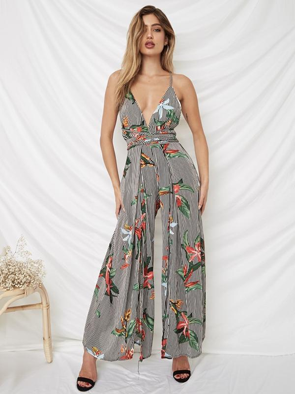 Floral Spaghetti-neck Split Backless Wide Leg Long Jumpsuits