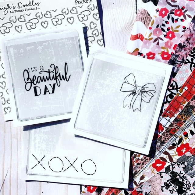 Bows & XOXO // Set of 3 Adhesive Pockets