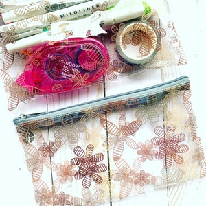 Floral // Clear Zip Up Pouch