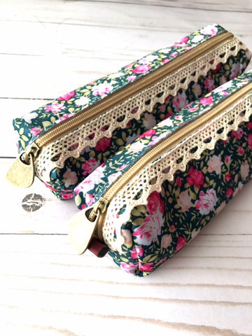 Pen Pouch // Navy Floral and Pink