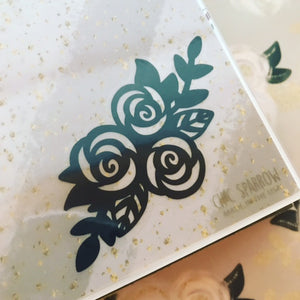 Black Floral // Clear Sticker Decal