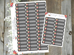 Floral Chalkboard Quarter Boxes // Stickers