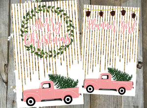 Pink Holiday Truck // Digital PRINTABLE Dashboard