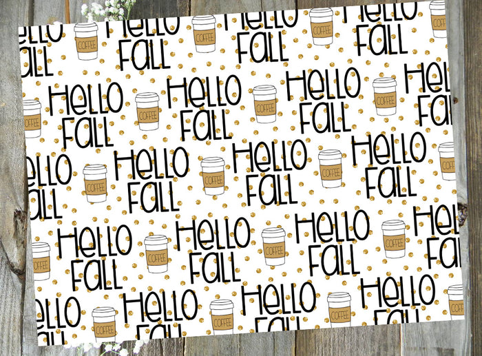 Hello Fall Coffee // Digital PRINTABLE Vellum