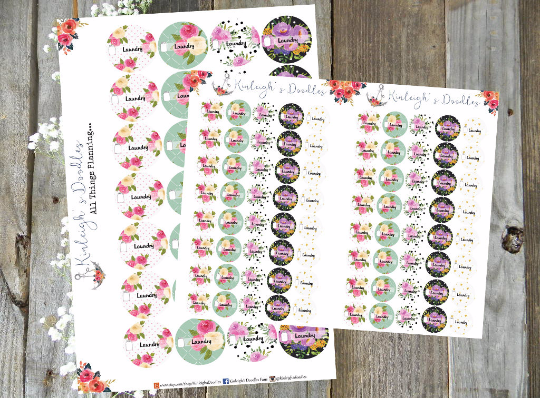 Laundry Floral Circles // Stickers