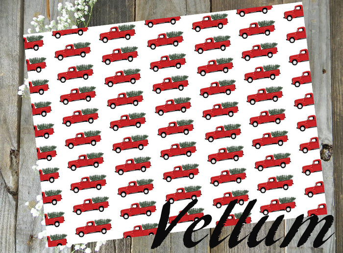 Red Christmas Holiday Truck // Digital PRINTABLE Vellum