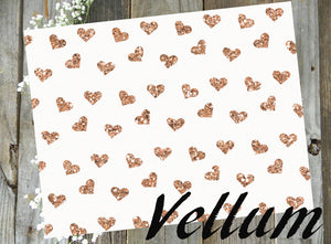 Rose Gold Glitter Hearts // Vellum