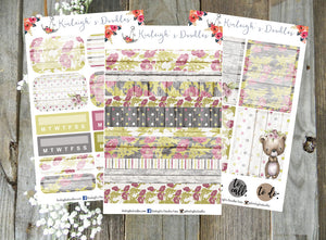 Vintage Bear // Personal Size Sticker Kit