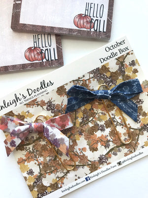 October Doodle Box // Fabric Dangle Bows Clip Set