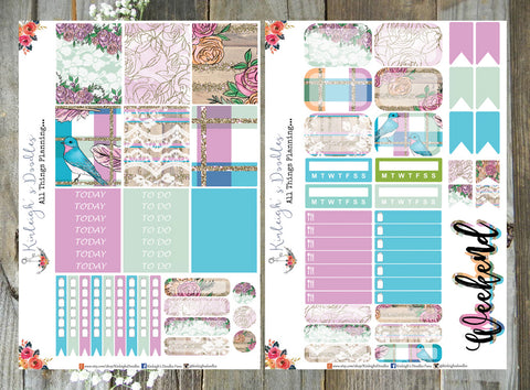Turquoise Blooms // Mini Sticker Kit