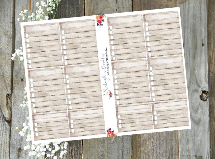 Wood Rustic Checklist // Stickers