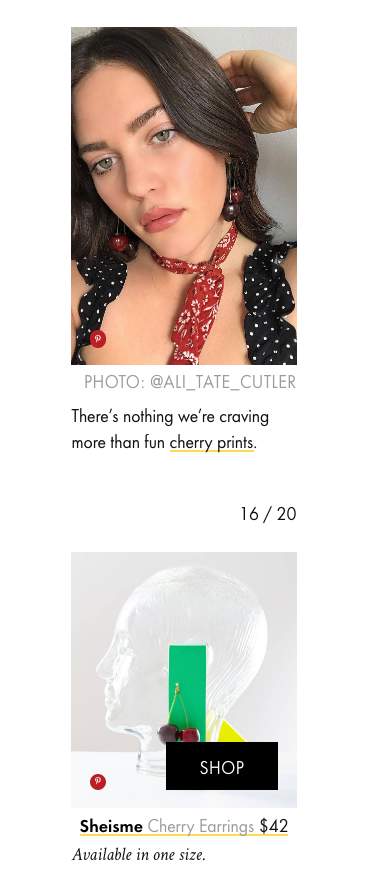 Ali Tate Cutler in sheisme cherry earrings featured on Who What Wear