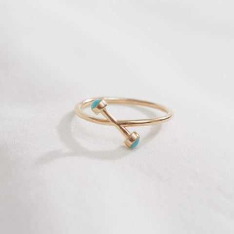 14k gold/turquoise