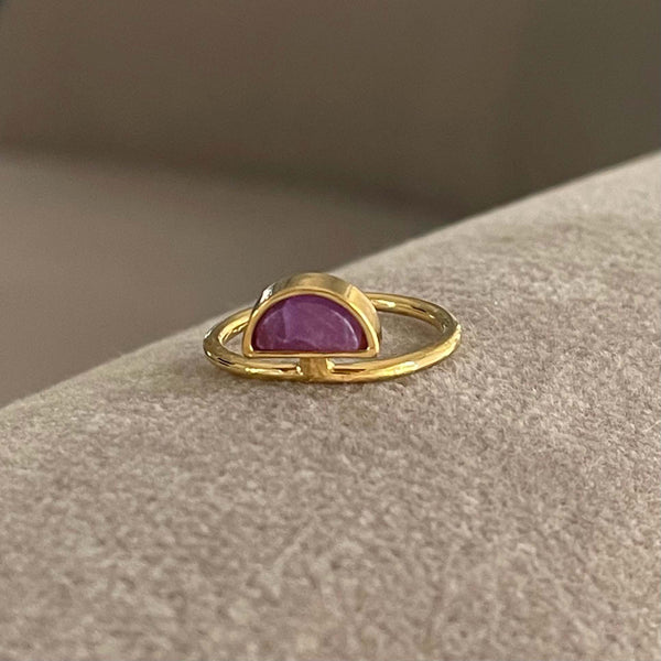 half moon amethyst ring