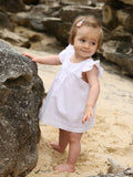 Little Bean Organic- White Frill sleeve dress