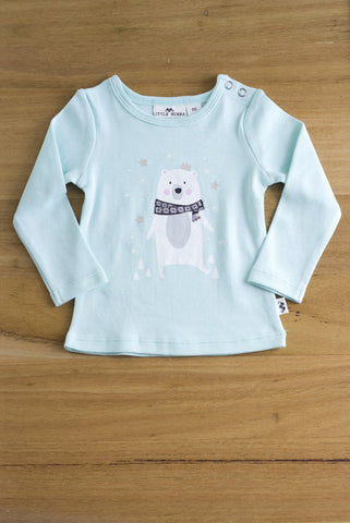 Little Bubba Bear long sleeve tee- Aqua