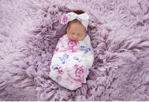 SnuggleHunny Kids Lilac Skies BaBy Jersey Wrap and Topknot Set