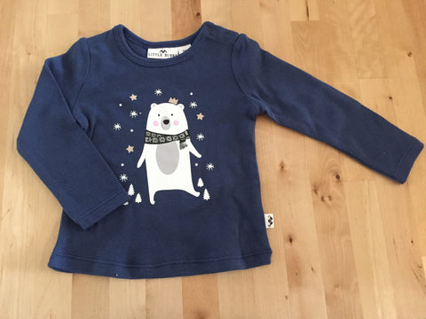 Little Bubba Bear long sleeve tee- Denim