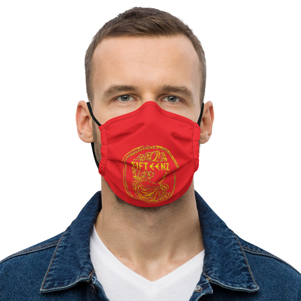 Red with Gold Fifteenz Coin Premium face mask - Fifteenz