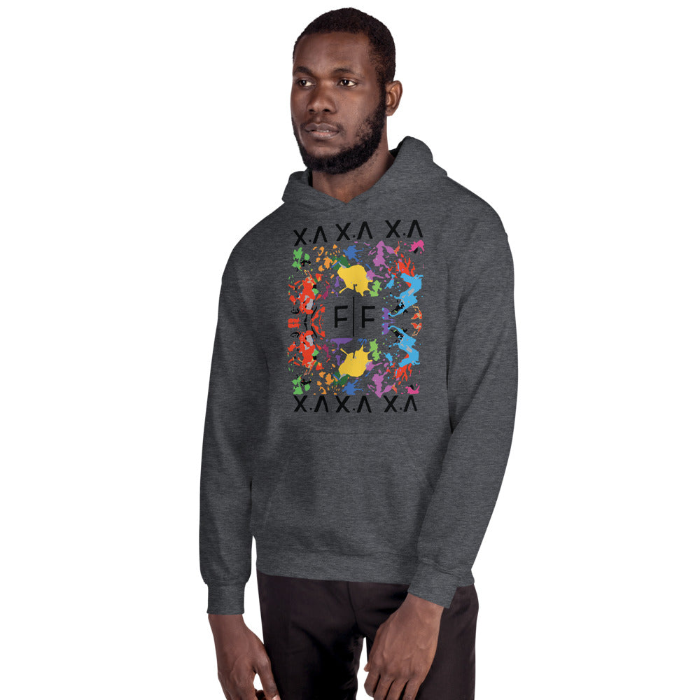 Fifteenz Dark Heather Paint Splatter Hoodie - Fifteenz