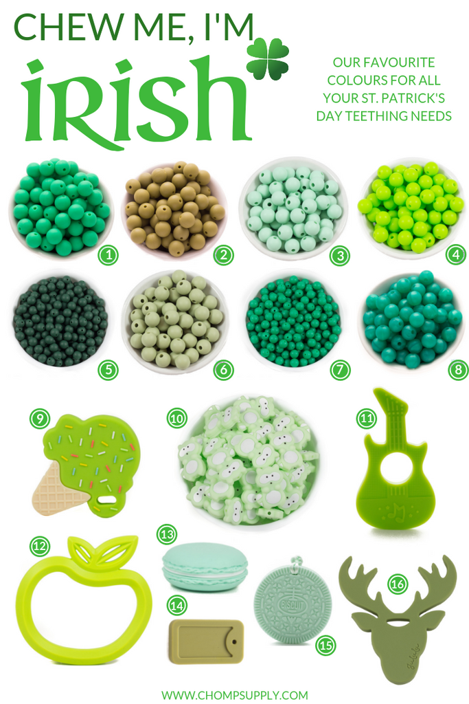 Irish Themed teething supplies for DIY chewelry making