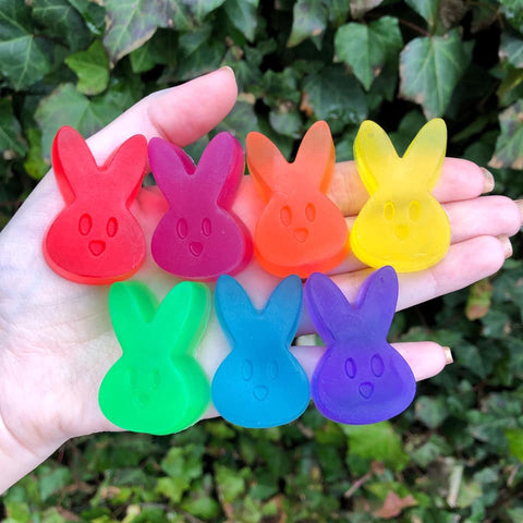 multi-colored children's soap in the shape of Easter bunnies