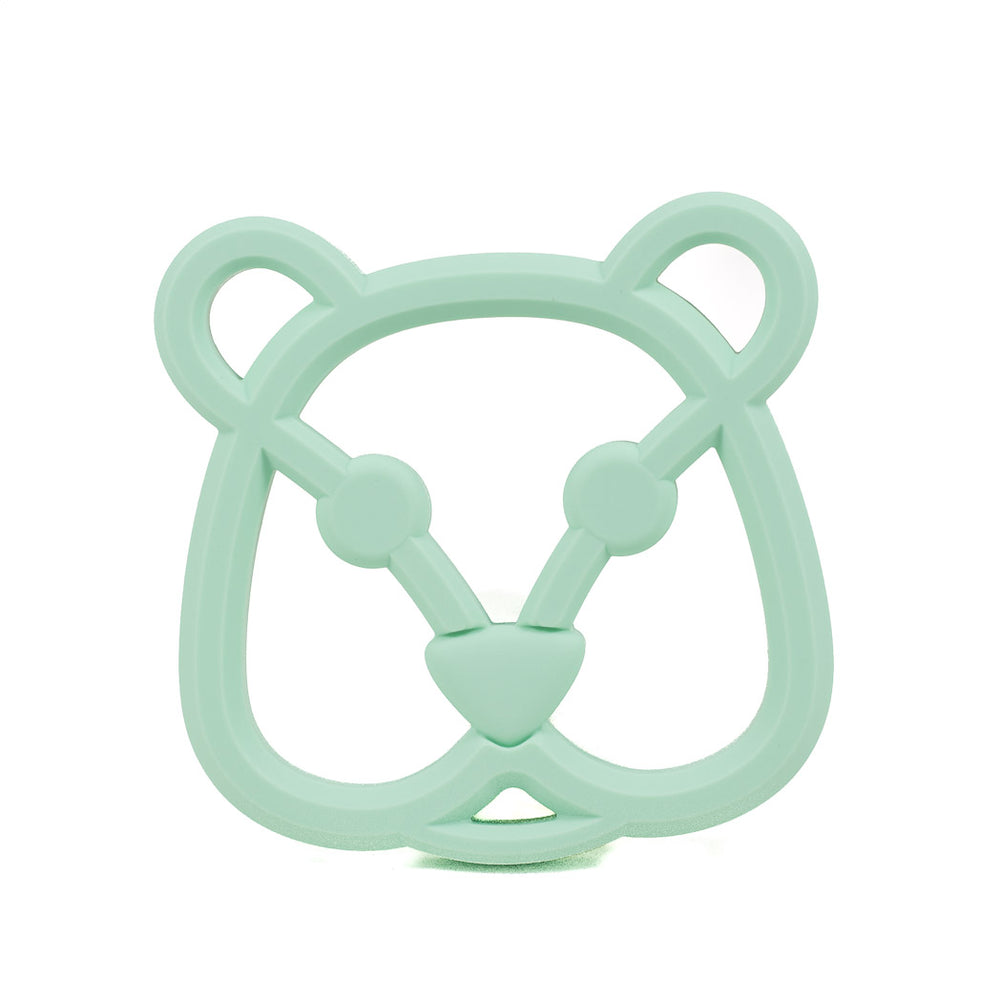 A mint bear face silicone teether pendant for babies
