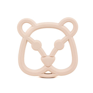 An oatmeal coloured bear face silicone teether for babies