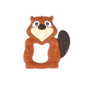 A burnt orange coloured, beaver shaped silicone teether pendant for teething babies