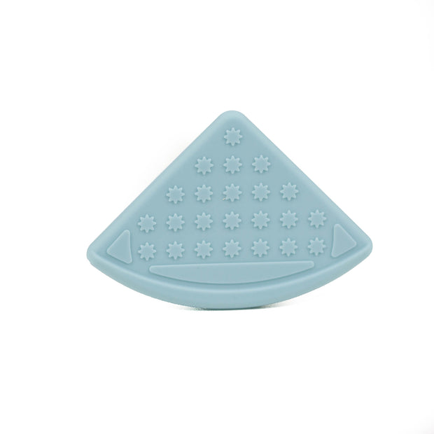 A periwinkle blue coloured sew-on silicone bib corner teether for crafts and teething baby products