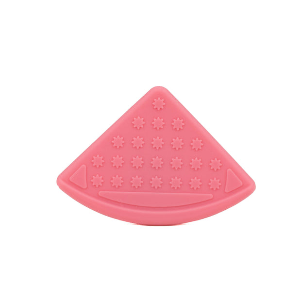 A light pink coloured sew-on silicone bib corner teether for crafts and teething baby products