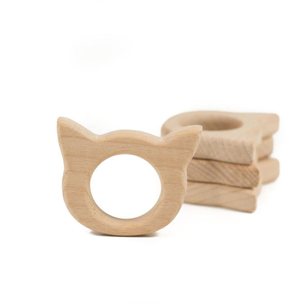 Small Beech Wood Teether Shapes