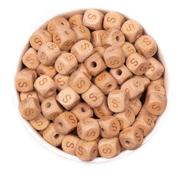 Alphabet Letter Beads 12mm - Beech Wood