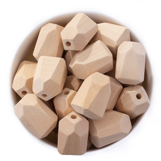 Faceted Large Natural Wood Teething Beads