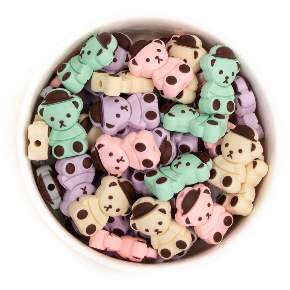 Mini Dapper Bear Silicone Beads