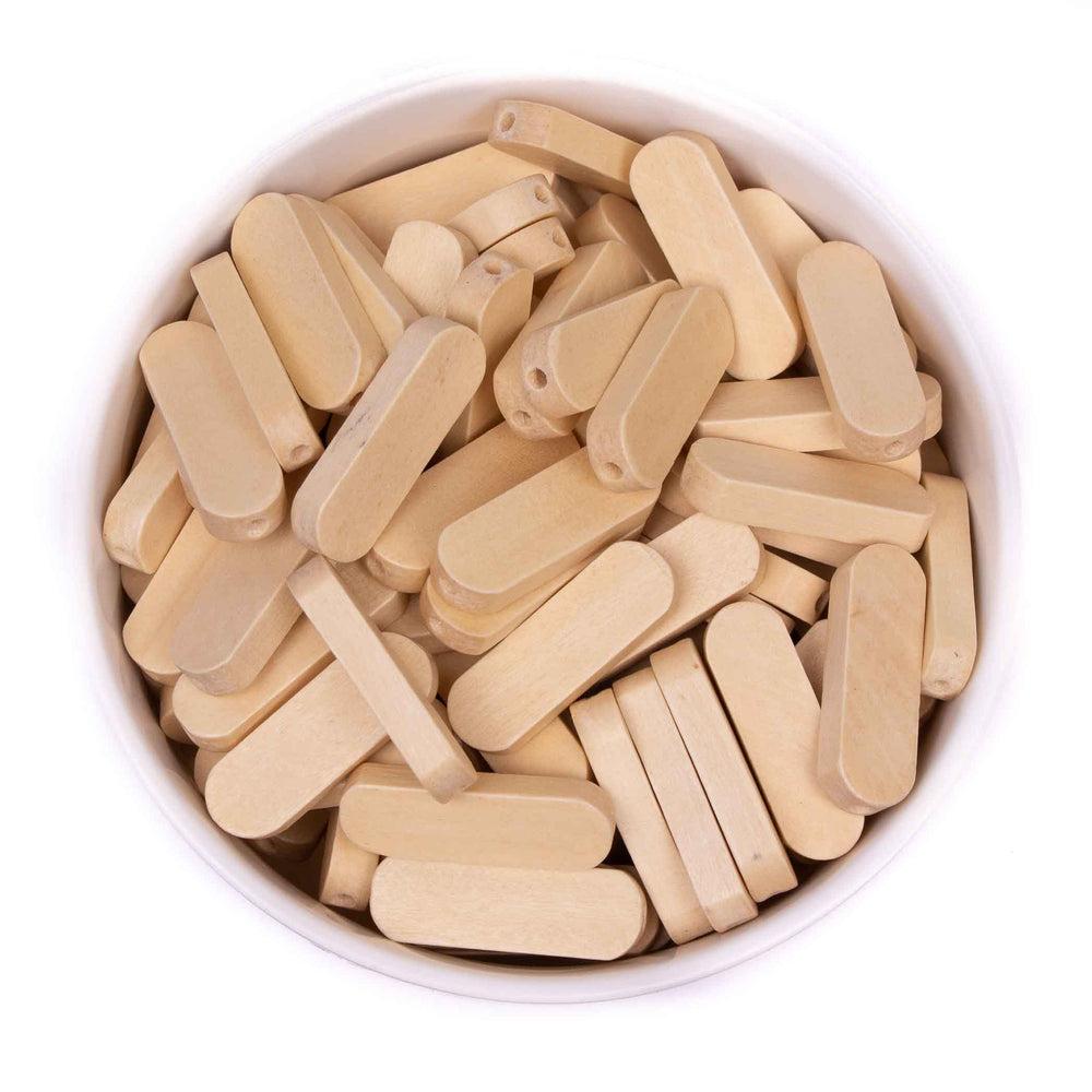 Flat Oval Natural Wood Beads