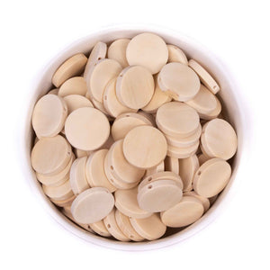 Flat Round Natural Wood Beads