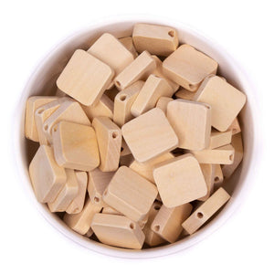 Flat Square Natural Wood Beads