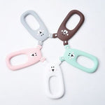 A collection of bear shaped silicone teether pendants